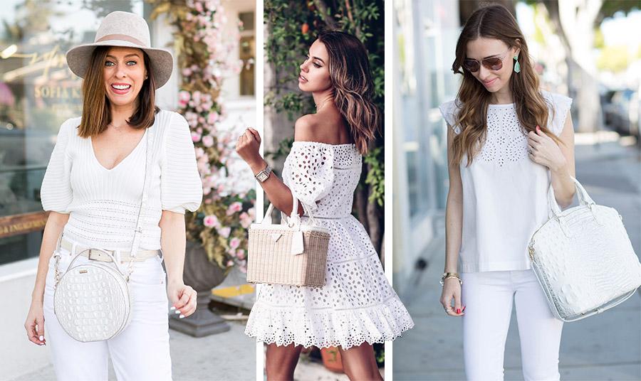 Φορέστε από πάνω έως κάτω λευκά και κρατήστε την ανάλογου στιλ λευκή σας τσάντα για μία εντυπωσιακή εμφάνιση! Οι διαφορετικές υφές στα ρούχα και τα αξεσουάρ κάνουν ακόμη πιο ενδιαφέρον το τελικό αποτέλεσμα