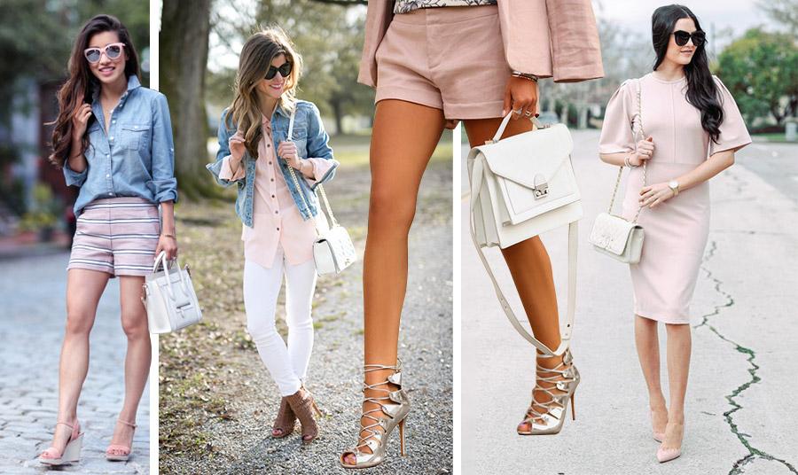 Η λευκή τσάντα συμπληρώνει όμορφα μία παστέλ εμφάνιση