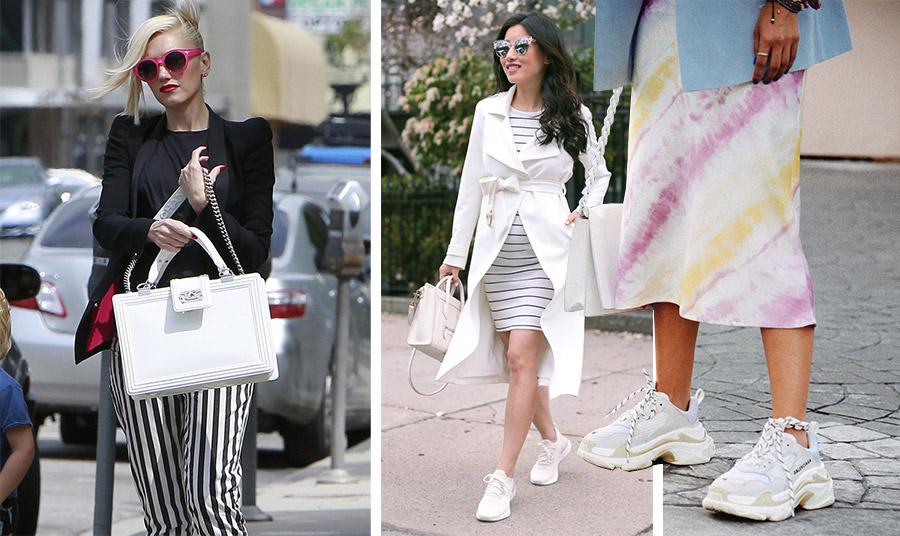 Σε οποιαδήποτε εμφάνιση, casual, σπορ ή πιο επίσημη, μαζί με τη λευκή σας τσάντα θυμηθείτε να συνδυάσετε κι άλλα λευκά αξεσουάρ, π.χ. τα παπούτσια ή να υπάρχει κάτι λευκό στα ρούχα σας