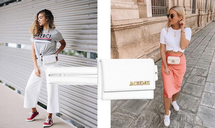 Φορέστε μία λευκή τσάντα-ζώνη για μία πρωινή ή ανέμελη εμφάνιση. Λευκό τσαντάκι-ζώνη, Jacquemus