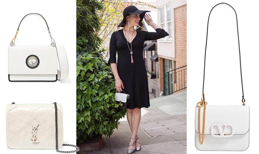 Για πιο επίσημη εμφάνιση, ένα μαύρο φόρεμα με χρυσά αξεσουάρ και μία λευκή τσάντα σε μικρό μέγεθος είναι μία εξαιρετική επιλογή. Λευκή τσάντα με μαύρες λεπτομέρειες, Fendi // Καπιτονέ με ασημένια αλυσίδα, Saint Laurent // Μικρή τσάντα, Valentino