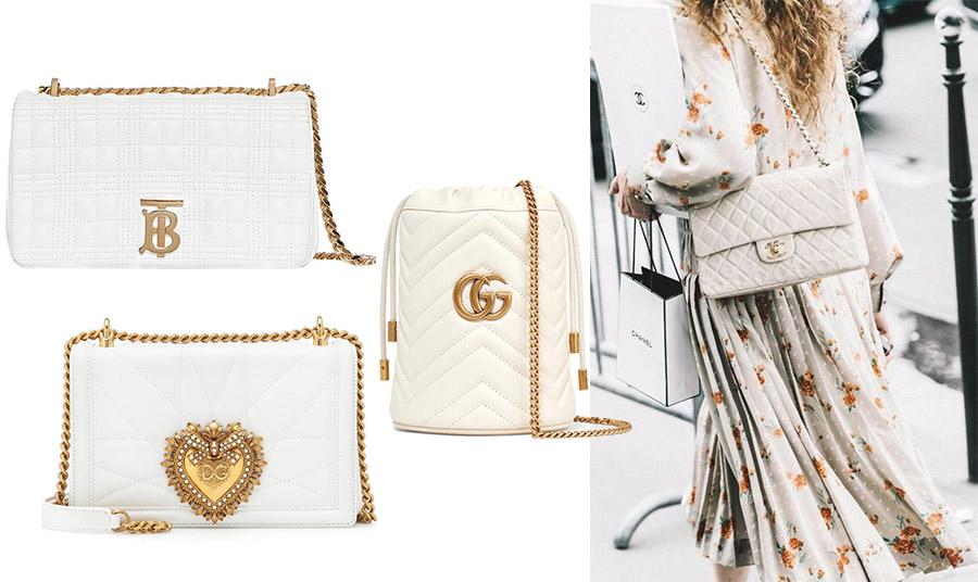 Το σχήμα και το στιλ μπορεί να διαφέρει, αλλά οι χρυσές λεπτομέρειες στα κουμπώματα, στα λογότυπα ή στις αλυσίδες είναι της μόδας και δίνουν ένα επιπλέον «λούστρο» σε μία λευκή τσάντα. Μικρή τσάντα φάκελος, Burberry // Με εντυπωσιακό κούμπωμα καρδιά, Dolce&Gabbana // Σαν πουγκί, Gucci // Καπιτονέ και κλασική, Chanel
