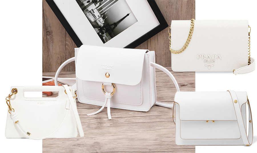 Μία καλή λευκή δερμάτινη τσάντα είναι κατάλληλη όχι μόνο για το καλοκαίρι αλλά και για το φθινόπωρο και τον χειμώνα, οπότε είναι μία διαχρονική επένδυση. Σε κομψή γραμμή και μικρό μέγεθος, Givenchy (κάτω αριστερά) // Σε γραμμή-φάκελος με μακριά χρυσή αλυσίδα, Prada (πάνω δεξιά) // Με μοντέρνα και λιτή γραμμή με χρυσές λεπτομέρειες, Marni (κάτω δεξιά)