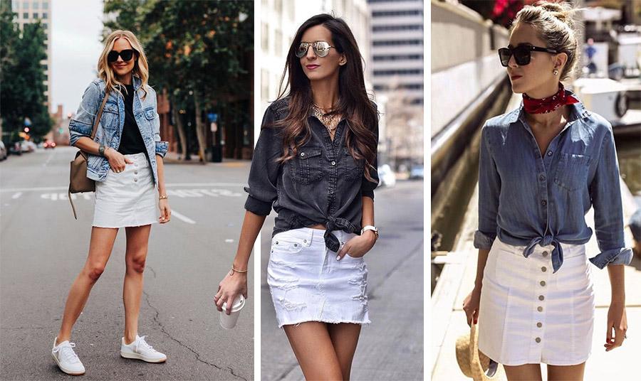 Μία μίνι λευκή τζιν είναι θηλυκή και σέξι! Συνδυάστε την με ένα μαύρο τοπ και το κλασικό τζιν σακάκι σας ή φορέστε με στιλ το αγαπημένο σας τζιν πουκάμισο