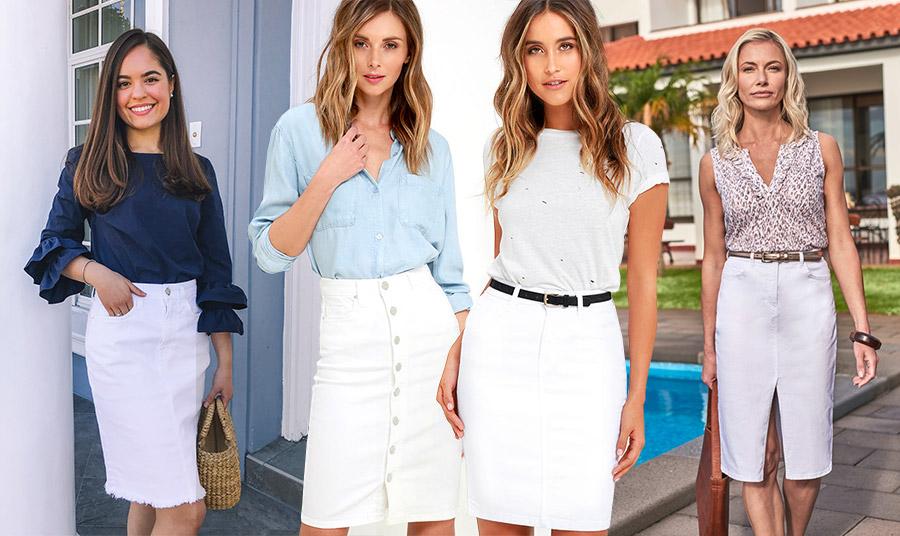 Μία λευκή τζιν φούστα μίντι και σε ίσια γραμμή συνδυάζεται με κάθε είδους μπλούζα ή πουκάμισο και γίνεται κατάλληλη για κάθε περίσταση όλη την ημέρα