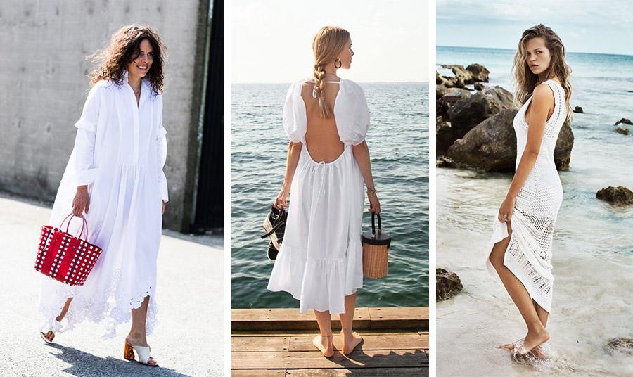 Διακοπές και λευκό φόρεμα… έννοιες συνυφασμένες! Ανάλαφρο, μακρύ, με ανοίγματα ή από πλεκτή δαντέλα μπορεί να μας συνοδεύσει από το πρωί έως το βράδυ