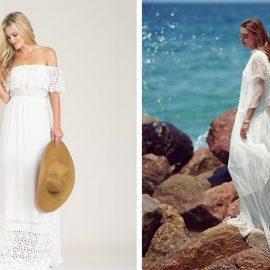 Τα έξωμα και τα στολισμένα με δαντέλα λευκά φορέματα είναι πολύ της μόδας αυτό το καλοκαίρι