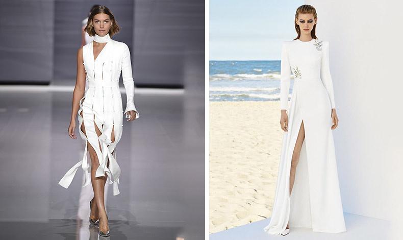 Τα μακριά λευκά φορέματα με ανοίγματα και σκίσιμο στο πλάι είναι στο πνεύμα της μόδας