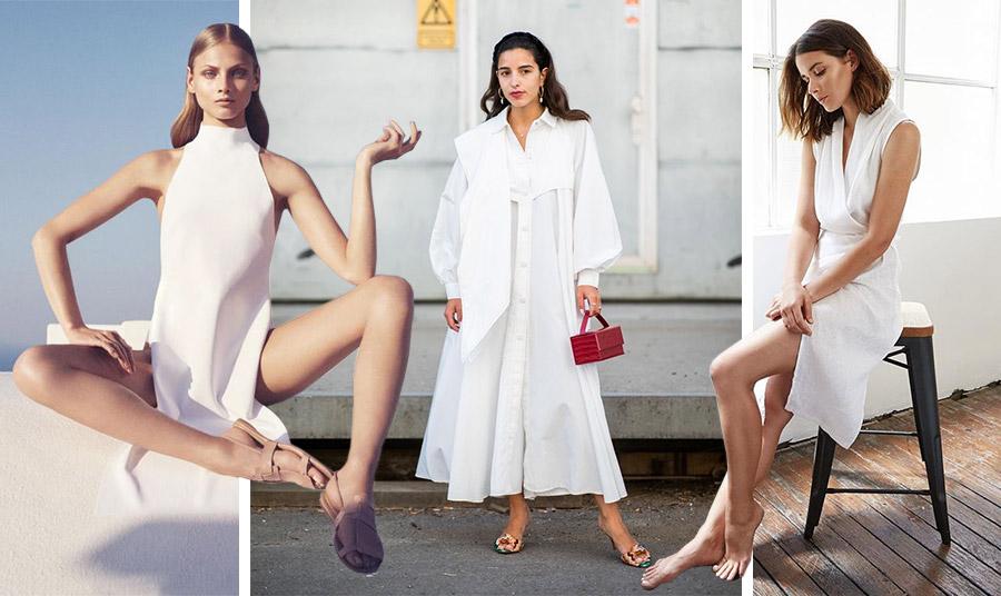 Ένα μίνιμαλ ή με γεωμετρικά κοψίματα λευκό φόρεμα είναι πάντοτε επίκαιρο. Επιλέξτε ανάλογα αξεσουάρ για να το τονίσετε