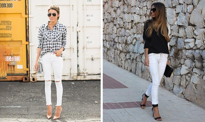 Το κλασικό καρό πουκάμισο ταιριάζει ακόμη περισσότερο με το λευκό σας τζιν από ό,τι με το κλασικό // Μία μαύρη μπλούζα, μαύρη τσάντα και πέδιλα για ένα εντυπωσιακό λουκ