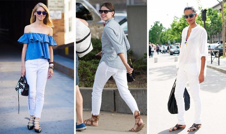 Το λευκό τζιν συνδυάζεται με ένα έξωμο, ένα κλασικό πουκάμισο ή μία πουκαμίσα και τα φλατ σανδάλια σας για κάθε καλοκαιρινή ημέρα
