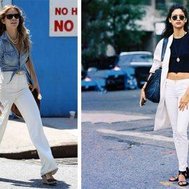 Ένα φαρδύ λευκό τζιν με ένα μπλουτζίν πουκάμισο δεμένο στη μέση και εσπαντρίγιες για ένα ανάλαφρο και πιο ροκ στιλ // Συνδυάστε το με ένα αμάνικο μαύρο τοπ και αξεσουάρ και ένα λευκό λεπτό πανωφόρι