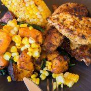 Λεμονάτο κοτόπουλο με κολοκύθα και λαχανικά