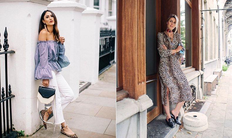 Αν επιλέξετε παπούτσια με λεοπάρ print, προτιμήστε φλατ μυτερές μπαλαρίνες (φωτό: Soraya Bakhtiar). // Τα λεοπάρ φορέματα μπορεί να δείχνουν υπερβολικά, αλλά με τα κατάλληλα αξεσουάρ φοριούνται από το πρωί έως το βράδυ (φωτό: Fashionata)