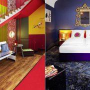 Εντυπωσιακά, ζωηρά χρώματα σε κοινόχρηστους χώρους // Μία ακόμη εκδοχή δωματίου? μπλουτζίν