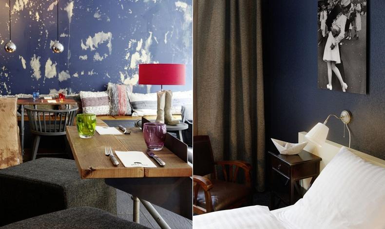 Σαν ξεφτισμένο τζιν στους τοίχους και ευχάριστο περιβάλλον στο εστιατόριο // Στις αποχρώσεις του μπλε και του λευκού με τη διάσημη φωτογραφία για το τέλος του Β? Παγκοσμίου πολέμου να κοσμεί τον τοίχο