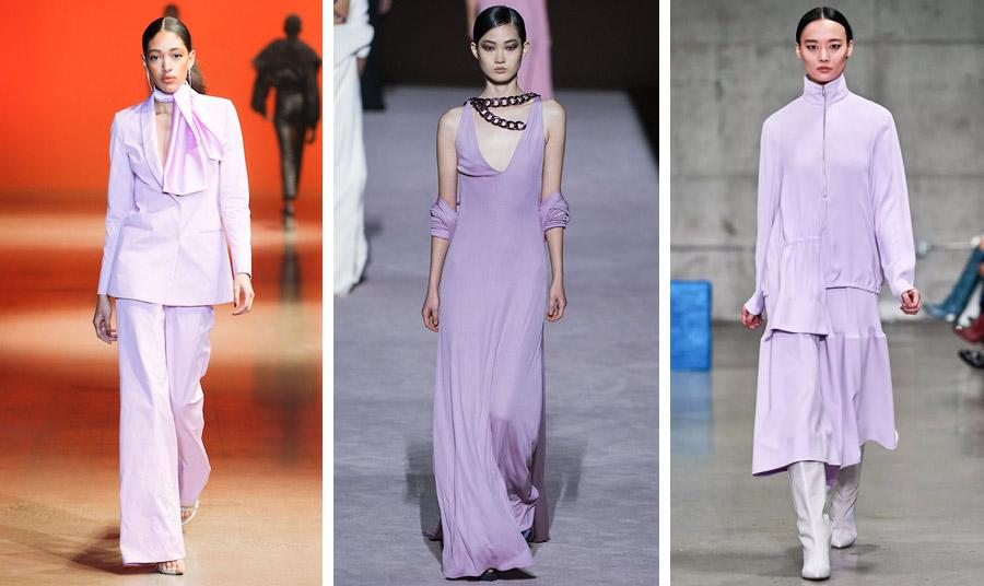Φθινόπωρο 2021-χειμώνας 2022: Κοστούμι, Cushnie // Μακρύ φόρεμα, Tom Ford // Λιλά σύνολο με λευκές μπότες, Tibi