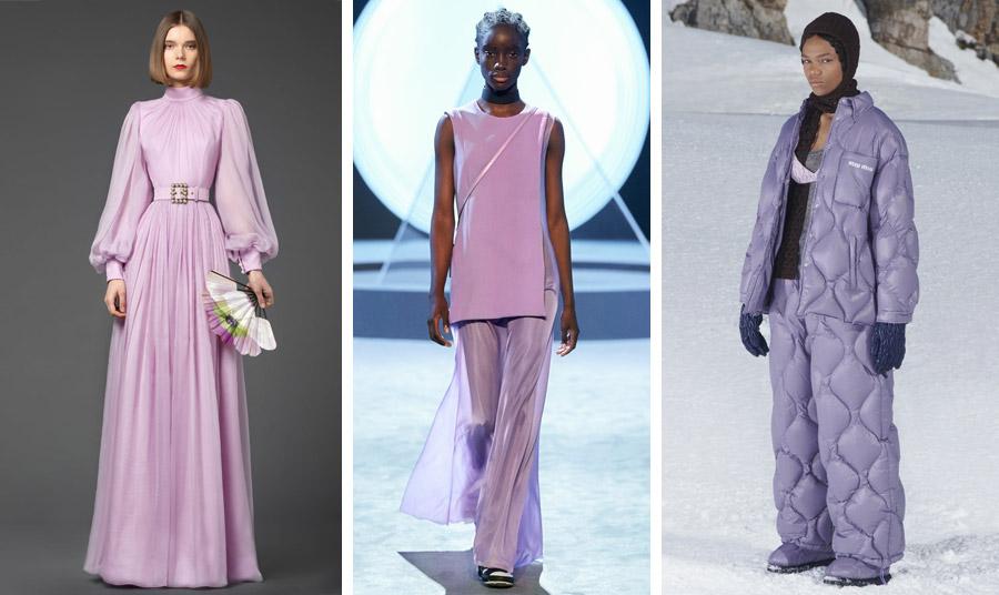 Φθινόπωρο 2021-χειμώνας 2022: Μακρύ φόρεμα, Andrew Gn // Μοντέρνα μονοχρωμία με διάφανο παντελόνι, Salvatore Ferragamo // Καπιτονέ σύνολο, Miu Miu