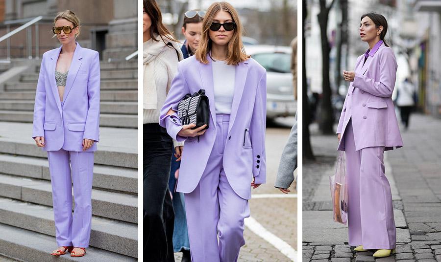 Το κοστούμι είναι στην πρώτη γραμμή της μόδας! Επιλέξτε το δικό σας και φροντίστε να είναι… λιλά! Ταιριάξτε το με ένα τοπ, με λευκό ή μαύρο, ενώ μία κίτρινη πινελιά στα παπούτσια ή στην τσάντα κάνει τη διαφορά