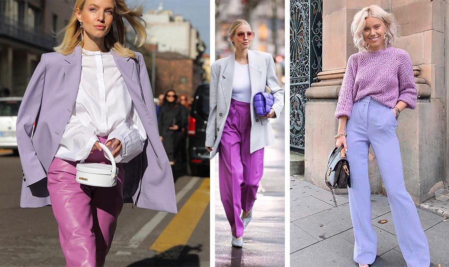 Φορέστε ένα λιλά σακάκι με λευκό πουκάμισο και ένα δερμάτινο παντελόνι σε φούξια για την «απόλυτη» φθινοπωρινή εμφάνιση! // Με γκρι σακάκι και μία μοβ τσάντα // Συνδυάστε ένα λιλά παντελόνι με τοπ σε ροζ απόχρωση