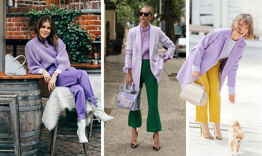 Μονοχρωμία με λευκά αξεσουάρ; Ένα λιλά πανωφόρι και τοπ με σκούρο πράσινο; Ή ο συνδυασμός του λιλά με το φωτεινό κίτρινο, χρώμα της χρονιάς 2021; Ανάλογα με το στιλ σας, η εμφάνισή σας θα είναι εντυπωσιακή!