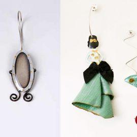 Κρεμαστά σκουλαρίκια από ασήμι και σμάλτο, Mirror and Bust, από τη συλλογή Wardrobe // Κρεμαστά σκουλαρίκια Geisha and fan, από τη συλλογή Women