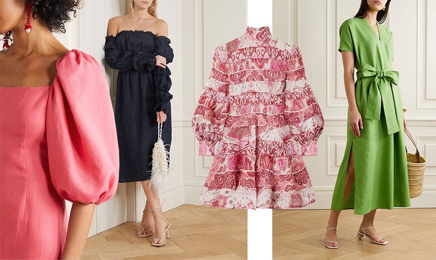 Η εκδοχή του λινού και για το βράδυ! Υπέροχο μακρύ φόρεμα με φουσκωτά μανίκια σε ροδί, Rebecca de Ravenel // Μαύρο έξωμο φόρεμα, Sleeper // Μίνι φόρεμα με ρετρό στιλ και σούπερ αποχρώσεις, Zimmerman // Σε υπέροχη γραμμή και εντυπωσιακό φιόγκο και φωτεινό πράσινο, Liza Marie Fernandez