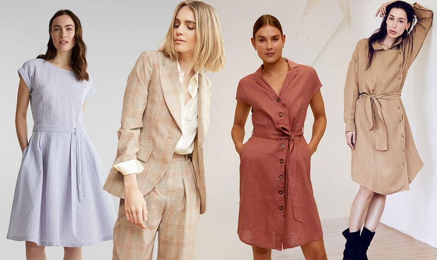 Τα λινά ρούχα είναι κατάλληλα για κάθε περίσταση, από το γραφείο ή οποιαδήποτε εργασιακή μας υποχρέωση μέχρι μία βόλτα στην πόλη. Γαλάζιο φόρεμα, Esprit // Κομψό κοστούμι, Ines de la Fressange // Ροδί φόρεμα, Mango // Μπεζ ανοιξιάτικο φόρεμα