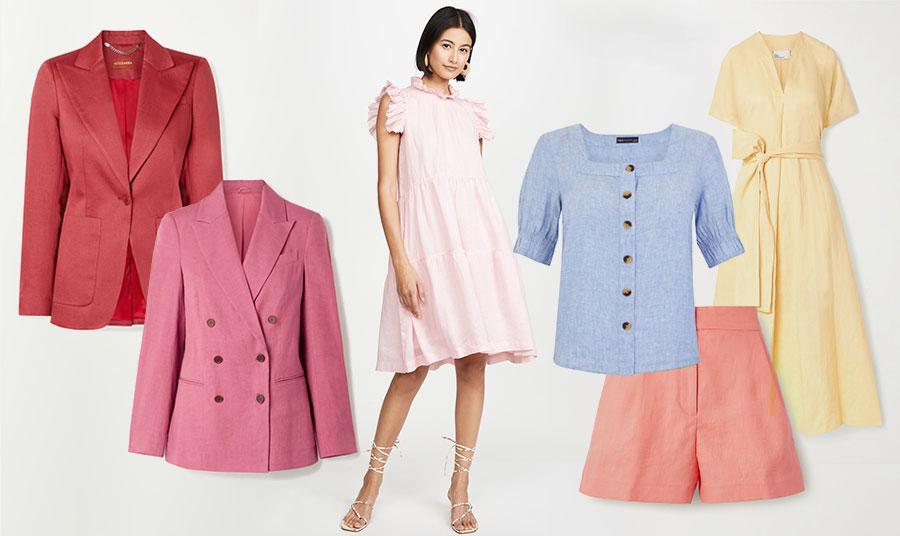 Προτάσεις σε λινά παστέλ: Ροδί σακάκι, Altuzarra // Σταυρωτό σακάκι σε απαλό φούξια, Brunello Cucinelli // Ροζ φόρεμα, Lucy // Γαλάζιο πουκάμισο, Marks&Spencer // Σορτς σε ροδακινί, Michael Kors // Μακρύ κίτρινο φόρεμα, Liza Marie Fernandez