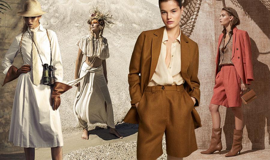 Τα λινά ρούχα είναι  ο τέλειος εκπρόσωπος του στιλ σαφάρι! // Λινά ατμοσφαιρικά ρούχα από editorial μόδας στο περιοδικό Hacid // Σακάκι και βερμούδα στην απόχρωση της καραμέλας, Massimo Dutti // Σακάκι και βερμούδα σε ροδί απόχρωση, Brunello Cucinelli