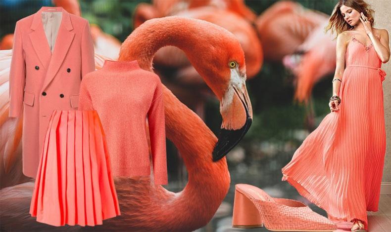 Η μόδα εμπνέεται από το κοραλλί, όπως το παλτό, Cerruti, η μπλούζα και η πλισέ φούστα, Pinko ή τα ψάθινα mule, Sarah Chofakian