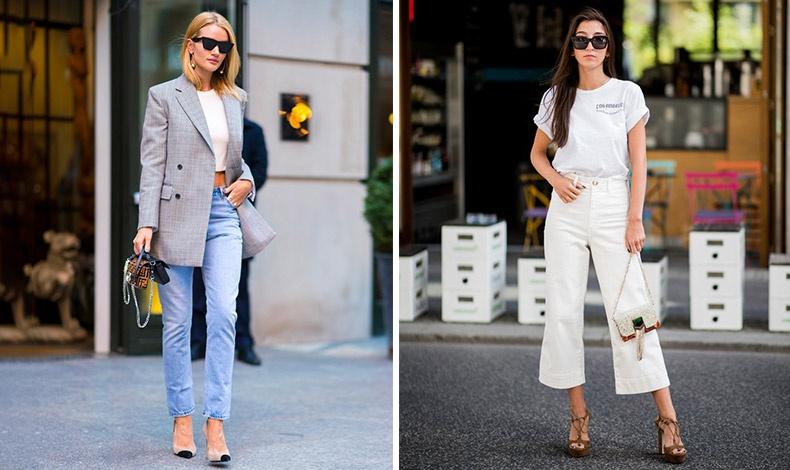 Το κλασικό τζιν ταιριάζει με ένα κοντό τοπ, ψηλοτάκουνες γόβες κι ένα κλασικό σακάκι // Πολύ της μόδας όμως, και τα λευκά ή χρωματιστά τζιν