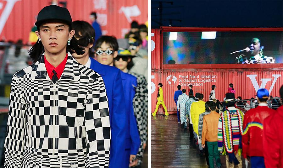 Στην επίδειξη μόδας, η διάσημη ράπερ τραγουδίστρια Lauryn Hill προβάλλεται πάνω σε ένα εμπορευματοκιβώτιο με τα λογότυπα του Louis Vuitton