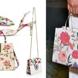 Μία αληθινά ανοιξιάτικη πνοή! Φλοράλ παπούτσι με γυάλινο τακούνι, Salvatore Ferragamo // Ξώφτερνη γόβα, Stuart Weizmann // Τσάντα με ρομαντικά μοτίφ, Gucci // Μικρή τσάντα με αλυσίδα, Valentino // Τσάντα με μεγάλα λουλούδια, Kate Spade
