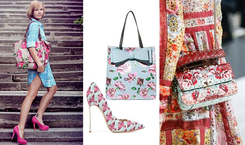 Συνδυάστε μία λουλουδάτη τσάντα με ένα ριγέ φόρεμα και παπούτσια στο βασικό χρώμα των λουλουδιών // Ρομαντική τσάντα με φιόγκο, Betsey Johnson // Ψηλοτάκουνη γόβα, Casadei // Λουλουδάτη τσάντα και φόρεμα, Valentino