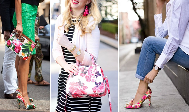 Συνδυασμός με το ίδιο μοτίφ στην τσάντα και στα παπούτσια συνδυασμένα με ανάλογα μονόχρωμα ρούχα // Ένα απλό ριγέ φόρεμα με μία φλοράλ τσάντα // Τζιν, λευκό πουκάμισο και λουλουδάτες γόβες για ένα casual chic look