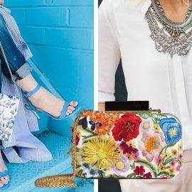 Ταιριάξτε μία φλοράλ τσάντα με ανάλογου χρώματος παπούτσια // Βραδινό τσαντάκι με απλικέ λουλούδια, Alice and Olivia // Ένα «ήσυχο» λουκ γίνεται ενδιαφέρον με ένα εντυπωσιακό φλοράλ τσαντάκι