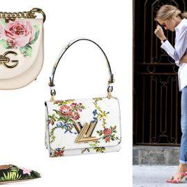 Τσαντάκι με τριαντάφυλλα και αλυσίδα, Dolce&Gabbana // Ψηλοτάκουνη γόβα, Gianvitto Rossi // Φλοράλ τσαντάκι λευκό, Louis Vuitton