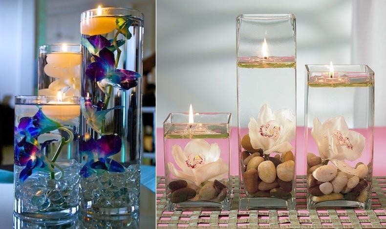 Βάζα σε διαφορετικά μεγέθη, όπου στον πάτο βάζετε χάντρες όπου στερεώνονται τα λουλούδια // Όστρακα, βότσαλα και ορχιδέες, τι λιτή κομψότητα!