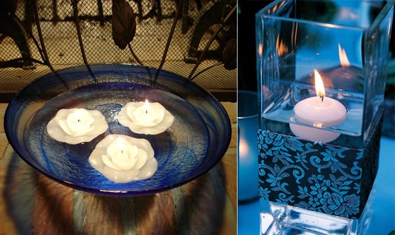Χρωματιστό μπολ και επιπλέοντα λευκά κεριά με σχήμα λουλουδιού // Ένα εντυπωσιακό βάζο με χρωματιστό νερό και απλά ένα λευκό κερί