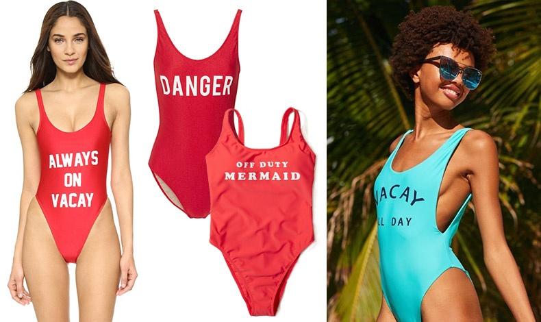 Διαλέξτε το δικό σας... μήνυμα και πάμε παραλία! Με σύνθημα «Μόνιμες διακοπές», Private Party // Με σύνθημα «Κίνδυνος», Adrianna Degreas  ή «Γοργόνα εκτός υπηρεσίας» // Σε γαλάζιο φόντο, Aerie