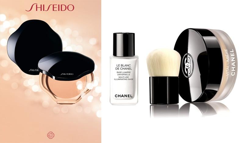 Για επιδερμίδα με απόλυτα ομοιόμορφο τόνο, Sheer and Perfect Compact, Shiseido // Le Blanc de Chanel,  βάση για τέλεια επιδερμίδα και πούδρα με το ειδικό πινέλο Kabuki για λάμψη