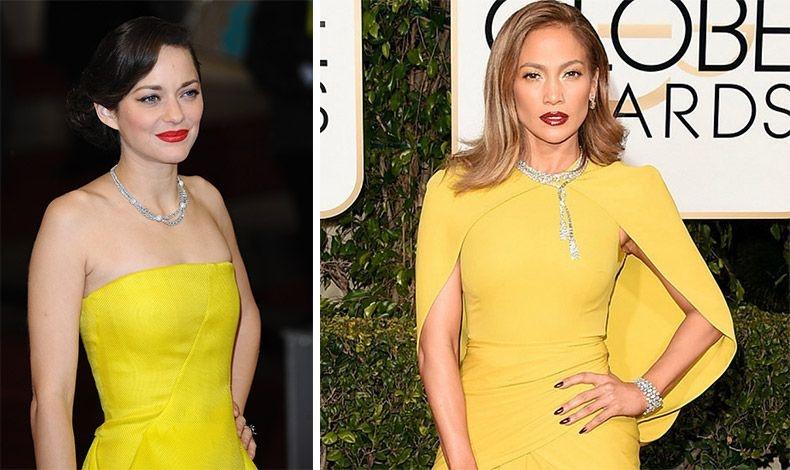 Η Μαριόν Κοτιγιάρ και η Τζένιφερ Λόπεζ με έντονο κίτρινο φόρεμα, διακριτικό μακιγιάζ στα μάτια και λαμπερά χείλη στους τόνους του κόκκινου. Εκθαμβωτικές!