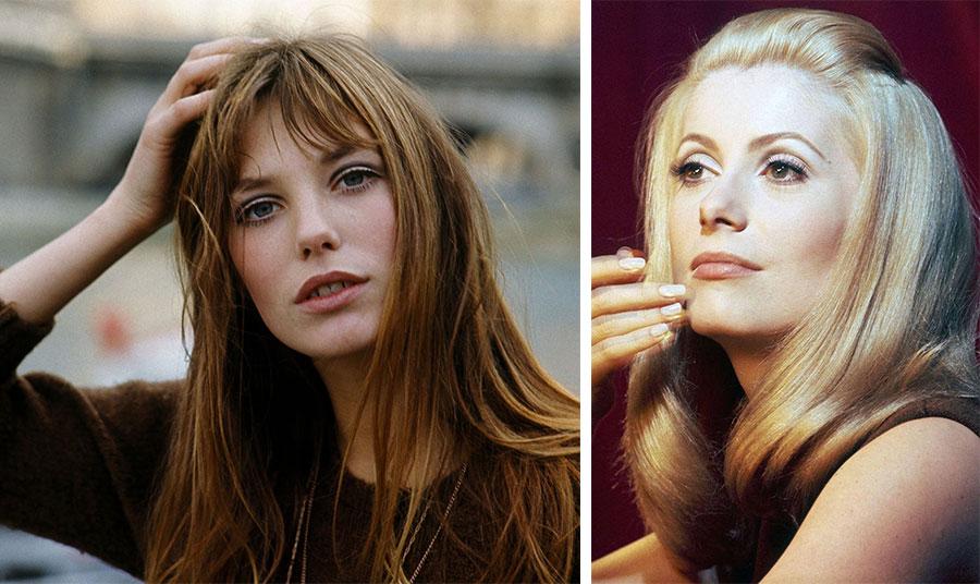 Η Τζέιν Μπίρκιν αλλά και η Κατρίν Ντενέβ με το μακιγιάζ της εποχής: Η υπογράμμιση του τόξου στο κινητό του βλεφάρου και οι έντονες βλεφαρίδες είναι σημεία του εν λόγω μακιγιάζ