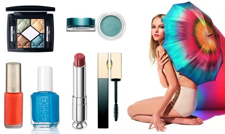 Πενταπλές σκιές 554 Contraste Horizon, από το καλοκαιρινό μακιγιάζ, Dior // Σκιά για τα μάτια Aqua, από το καλοκαιρινό μακιγιάζ, Clarins // Πορτοκαλί βερνίκι νυχιών 825 Εnergic Tangerine, L? Or?al Paris // Bερνίκι νυχιών make some noise, Essie // Kραγιόν Cosmic Pink, Dior // Αδιάβροχη μάσκαρα, Clarins // © Dior