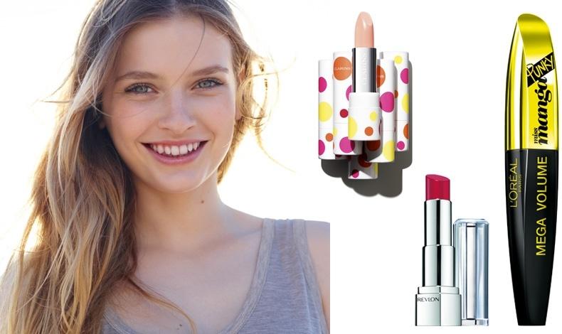 © Clarins // Για τέλεια ενυδατωμένα χείλη, Joli Baume, Clarins // Κραγιόν Bold Dahlia, Revlon // Mάσκαρα για εκρηκτικό όγκο Punky, L'Oréal Paris