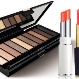 Παλέτα σκιών με γήινους τόνους, L? Or?al Paris // Κραγιόν σε πορτοκαλί απόχρωση, Shine Lover 136, Lancome // Kραγιόν σε φωτεινό χρώμα, Envy Shine Surreal Sun, Estée Lauder