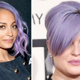 Η Nicole Richie σε ανοιχτή απόχρωση μοβ // Η Κelly Οsborne με μοβ μαλλιά πιασμένα κότσο σε επίσημη εμφάνιση