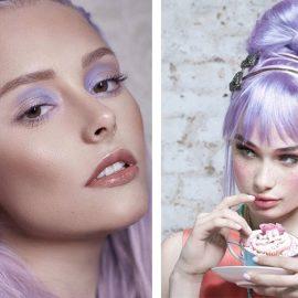 Το μακιγιάζ σας απαιτεί ανάλογους… δρόμους για να ταιριάξει με το μοβ στα μαλλιά. Ακολουθήστε τις ανάλογες παστέλ αποχρώσεις στα μάτια (π.χ. παστέλ μοβ ή ροζ), παστέλ τόνους στο ρουζ και ουδέτερα ή απαλά ροζ ή μοβ κραγιόν για τα χείλη
