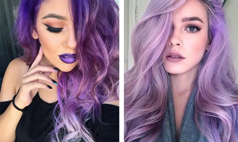 Για πολύ τολμηρό αποτέλεσμα, ακολουθήστε την απόχρωση του σκούρου μοβ των μαλλιών και στα χείλη! // Μπορούμε βέβαια, να επιλέξουμε και μονοχρωμίες! Μια σκιά στο χρώμα της λεβάντας στα μάτια, και ανάλογο μοβ κραγιόν, σίγουρα δεν περνούν με τίποτα απαρατήρητα